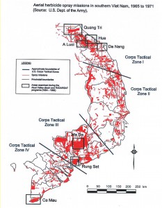 Kaart met aanduiding (rood) van gebieden besproeid tussen 1965 en 1971