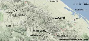 Locatie Hamburger Hill, gelegen in de A Shau vallei