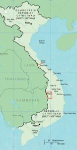 Locatie Ia Drang-vallei in Zuid-Vietnam