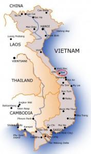 Locatie Hué in Zuid-Vietnam