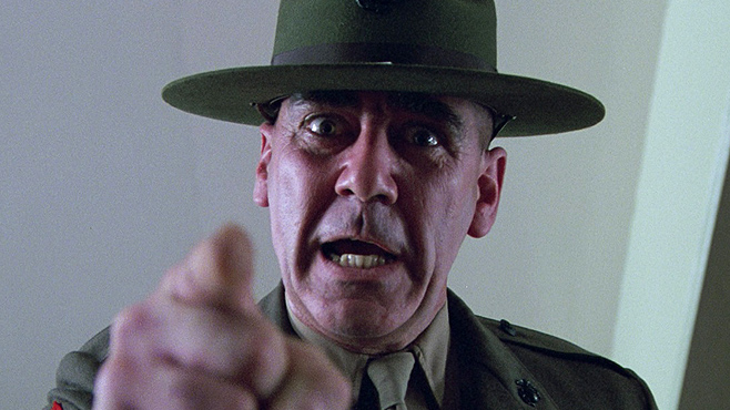 R.Lee Ermey als drill-sergeant in Full Metal Jacket