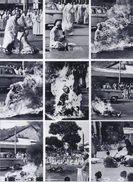 Foto's van de verschillende fases van de zelfverbranding door monnik Thich Quang Duc